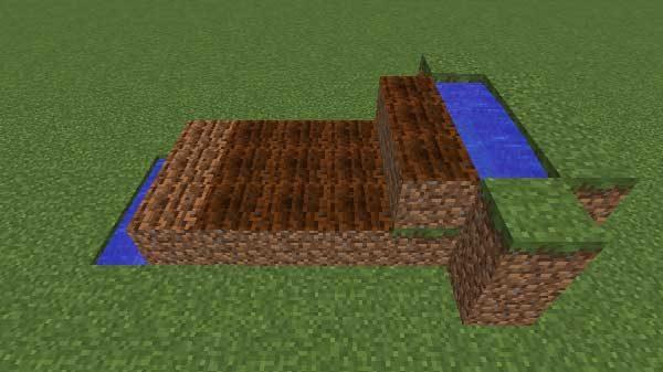 一段高い水源と耕地