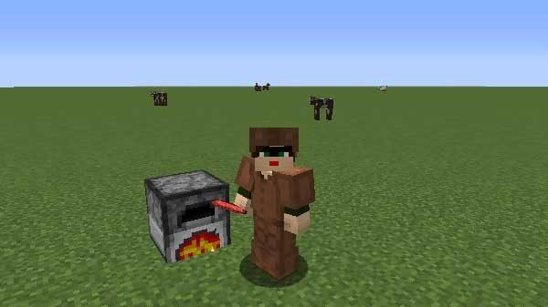 生の牛肉をかまどで焼いている様子