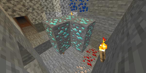 周りのブロックがすべて破壊された状態のダイヤモンド鉱石