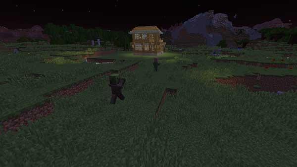 村人を襲う村人ゾンビ
