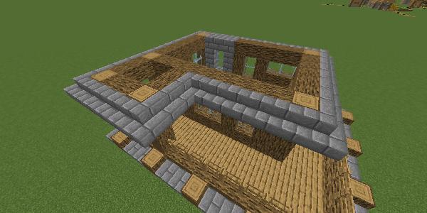 2階の屋根の石レンガの階段