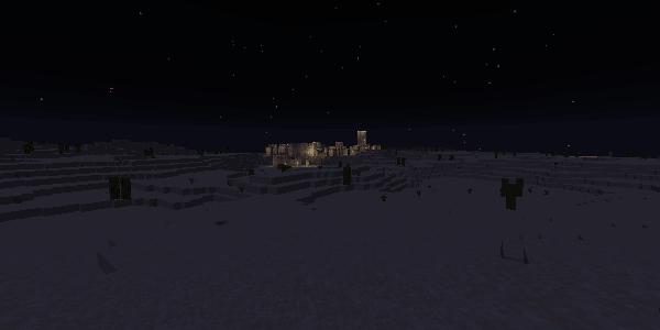 砂漠の村の明かり