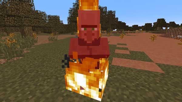 燃える村人