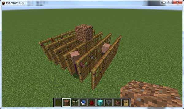 ドアに屋根となるブロックを設置
