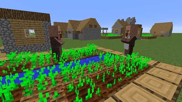 村でスポーンする村人たち