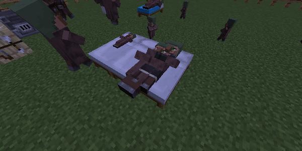 ベッドで寝る村人