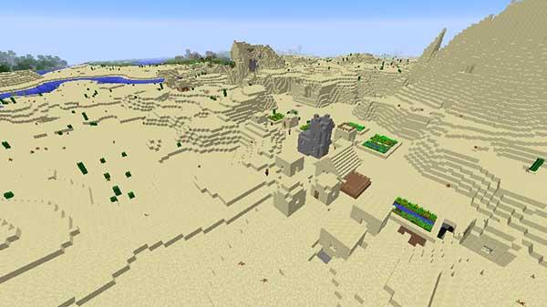 砂漠の寺院と並んで生成された村