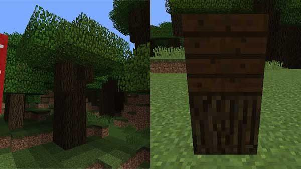 ダークオークの木、原木、木材
