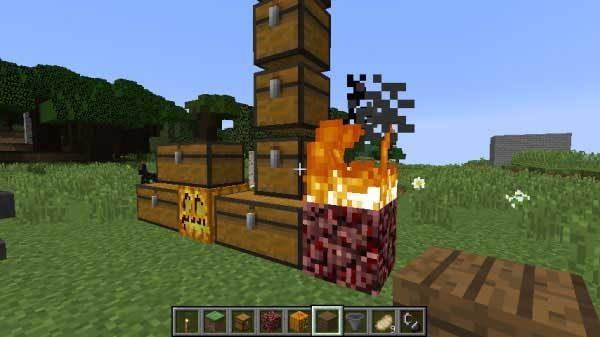 チェストの隣の火