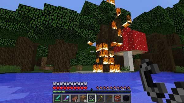 燃えるダークオークの森
