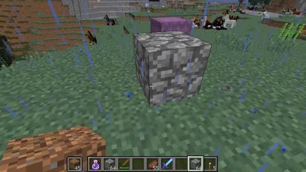メインハンドに丸石、オフハンドに土ブロック
