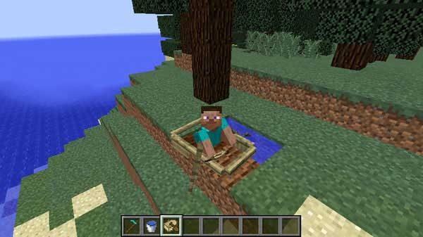 地面に沈むボートに乗ったプレイヤー