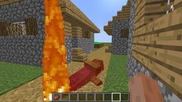 燃える村人ゾンビ