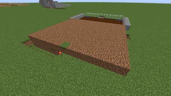レッドストーンの手前まで設置された土ブロック