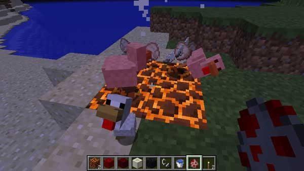 マグマブロックで処理されるニワトリ