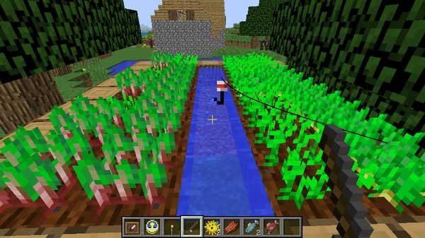 村の畑に釣り糸をたれている状態