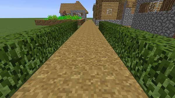 垣根のように並べられた葉っぱブロック