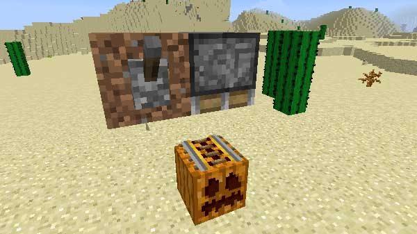 設置された土ブロックとレバー