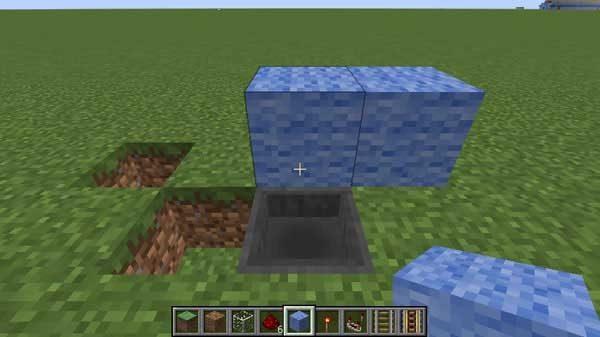 ホッパーの上に置かれたブロック