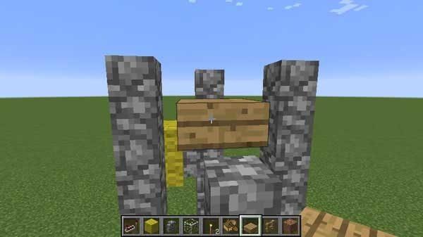 丸石の壁の間のハーフブロック