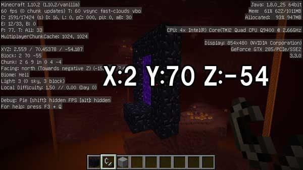 ネザー側で生成されたY=70のゲート