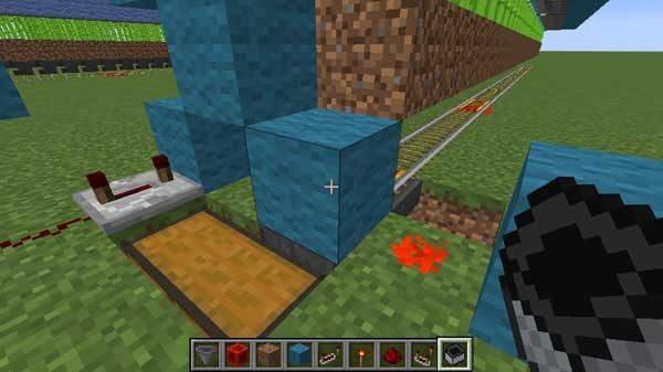ホッパーの上のブロック