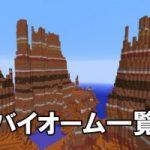 【画像あり】60種バイオーム一覧!洞窟が生成されやすい地形やレアなキノコ島も