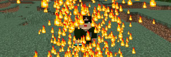 プレイヤーの周囲に表示される炎のパーティクル