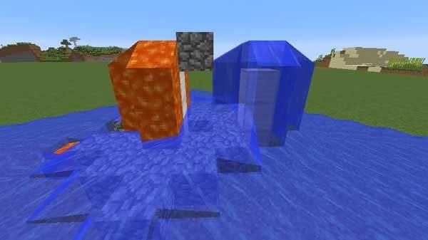 溶岩流と水流から丸石を生成