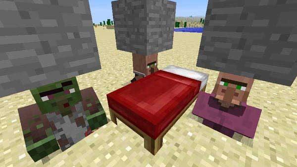 ベッドを置いて村人ゾンビを治療