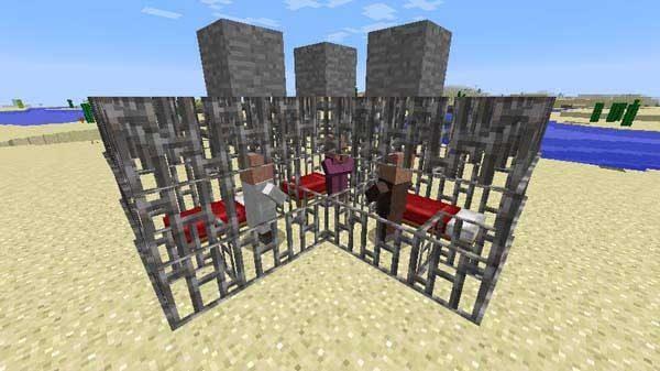 鉄格子とベッドを置いて村人ゾンビを治療