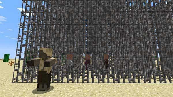 鉄格子の塊の中で村人ゾンビを治療