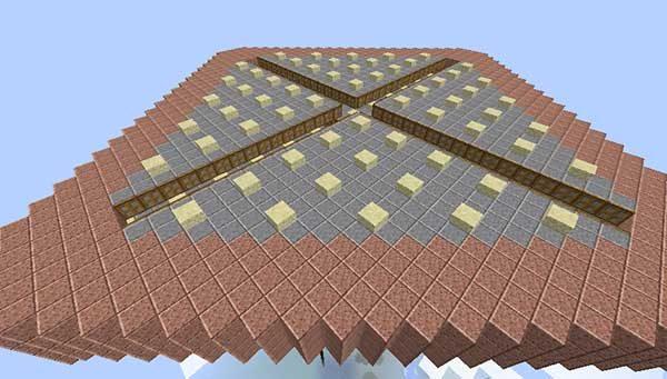 第二層の床と繋げられた第一層の天井