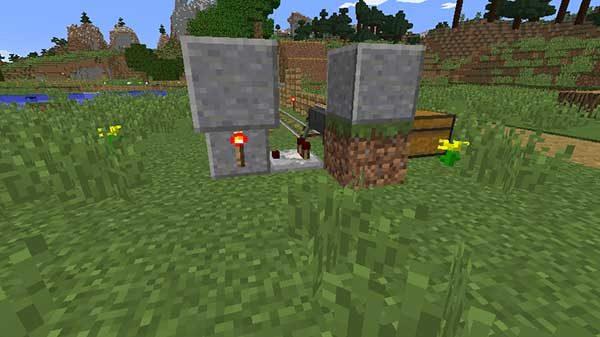 コンパレーターの先のブロック