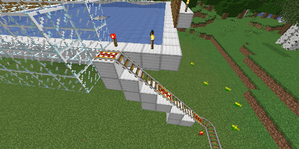 村人を持ち上げるレール