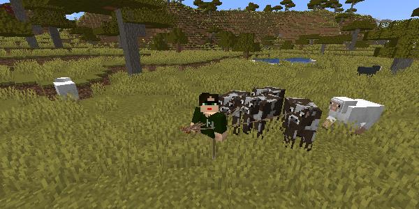 リードに繋がれた牛