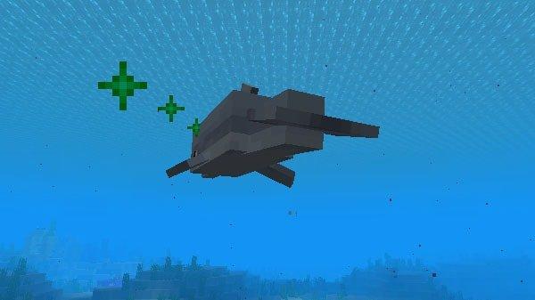 遺跡へ泳ぎだすイルカ