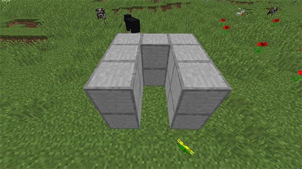 この字型に積み上げたブロック