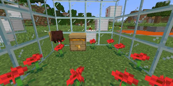 囲まれた養蜂箱